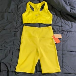 Nike sports bra + H&M training shorts